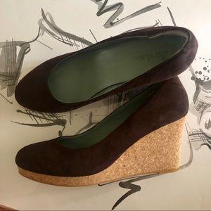 Boden Brown suede wedges heels size 38
